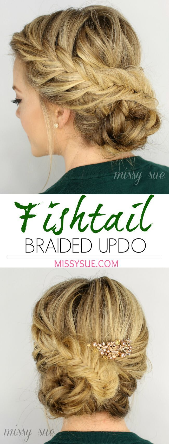 French Fishtail Braided Updo for Blonde Long Hair