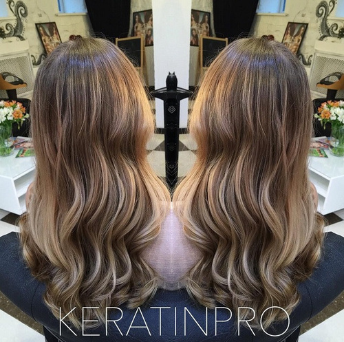 Braunes Haar mit Highlights