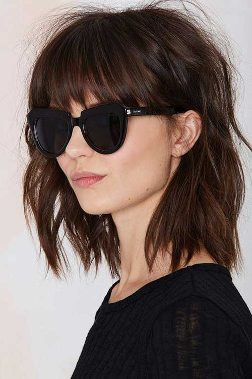 Brown Bob Hairstyles with Bangs