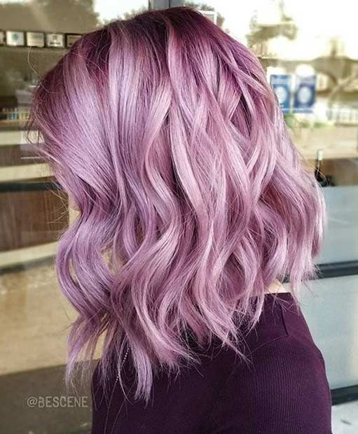pastel-purple-wavy-lob-hairstyle-pastel-hair-color-ideas-2018