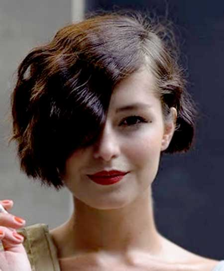 Super Short Wavy Bob with Asymmetrical Waves on Side
