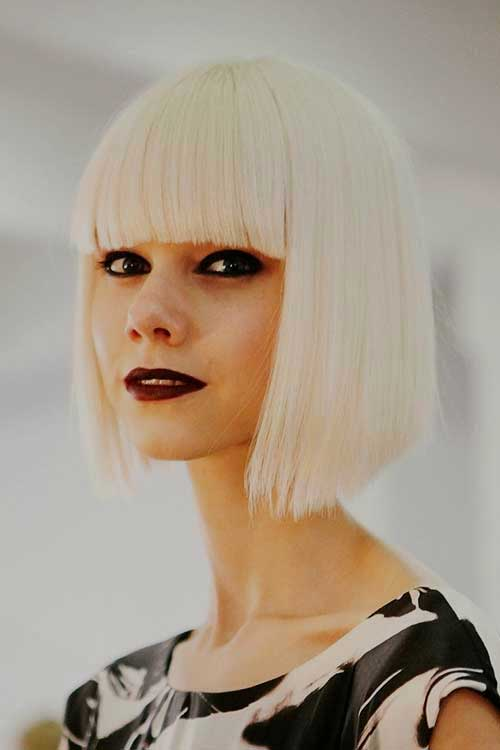 White Blonde Blunt Bob with Bangs