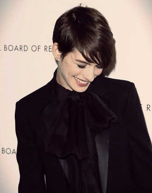 Dark Brown Short Layered Pixie Cut