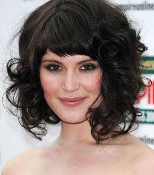 Dark Curly Bob Hairstyles with Bangs 2018