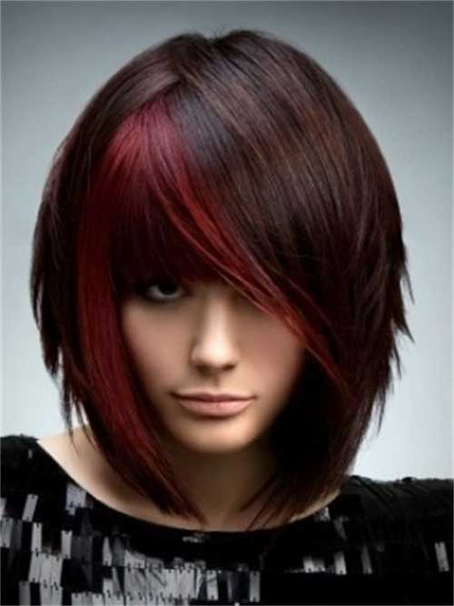 Red Highlight on Funky Bob Hair