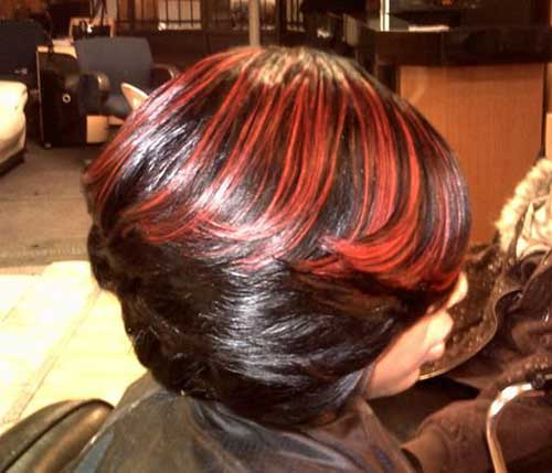 Layered Bob Ideas Red Highlighted for Black Women