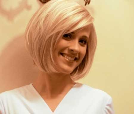 Simple Blonde Colored Inverted Bob Haircut