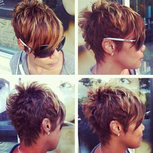 Short Layered Highlighted Pixie Cuts