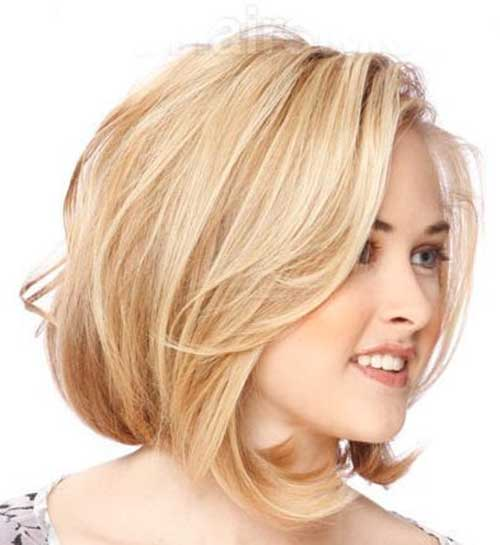Wavy Angled Bob Cut Hairstyles for Round Faces