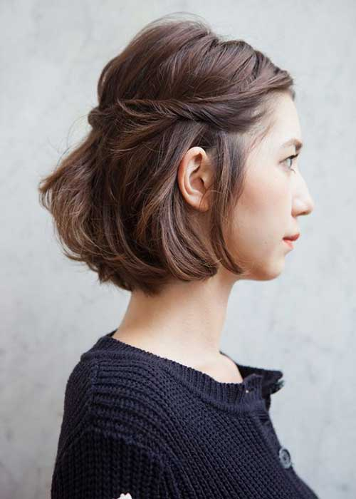 Brown Braided Bob Hairstyles Side View