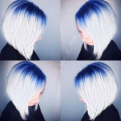 Reverse Ombre Blue Bob Hair