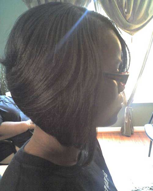 Feathered Dark Bob Hairstyles for Black Women