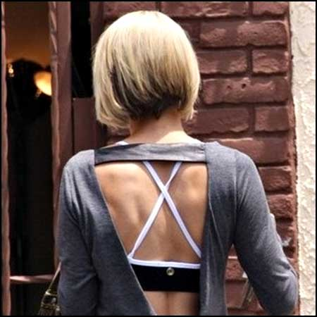 Back View of Simple Cup Styled Bob Hairstyle
