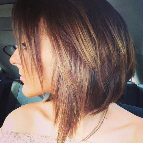 Pictures Of Layered Long Aline Bob Haircuts
