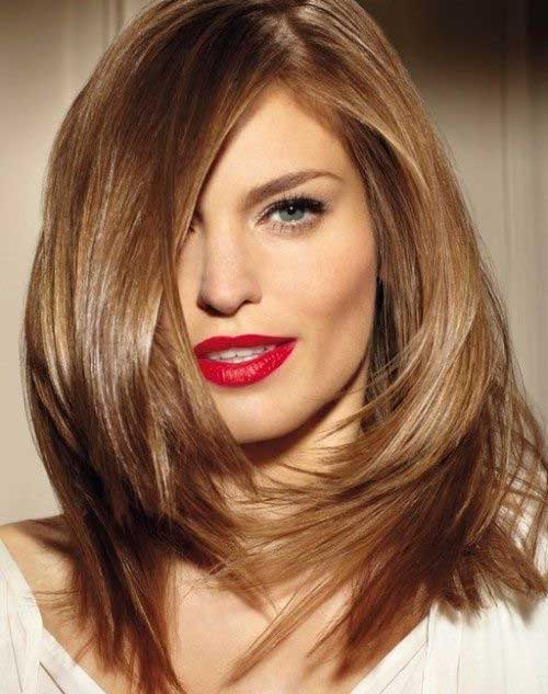 Long Angled Layered Bob Haircuts