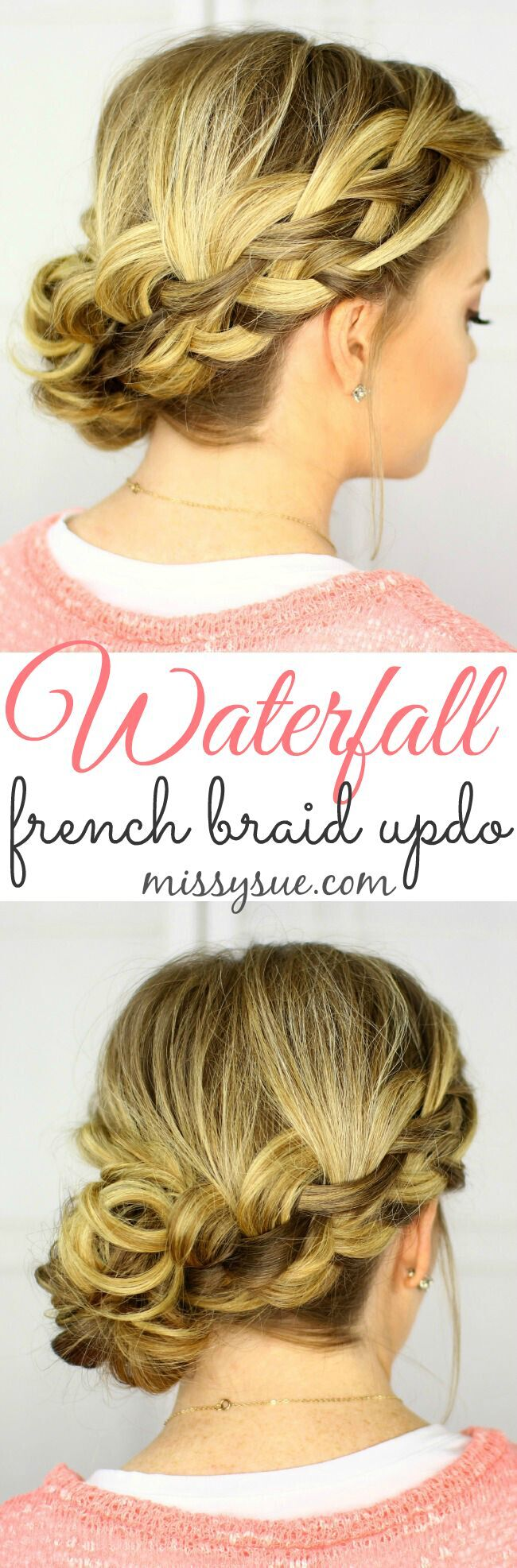 Low, Side Updo Hairstyles - Waterfall French Braid Updo