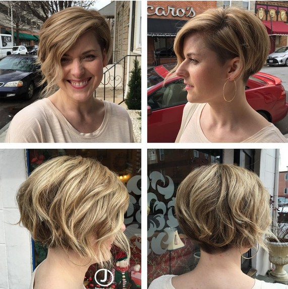 Undercut Bob for Thick Hair - Blonde Balayage with Short Hair
