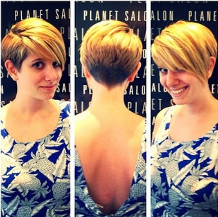 Asymmetric Blonde Pixie with Long Bangs - Layered Short Haircuts 2018