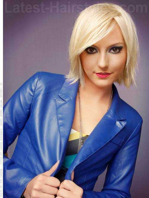 Short Bob Hairstyles with Side Swept Bangs-9