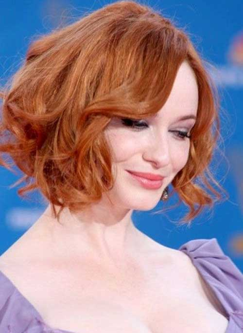 Curly Copper Bob Haircuts