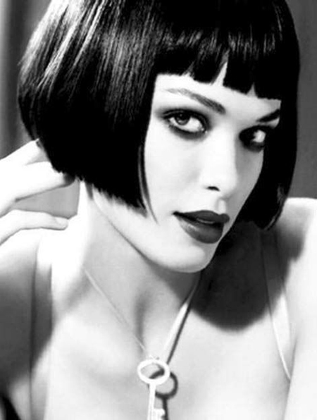 Short French Styled Hairdo with Blunt Bangs