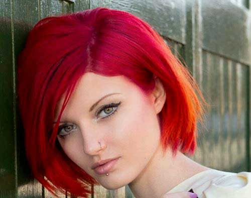 Bright Red Bob Hairstyles