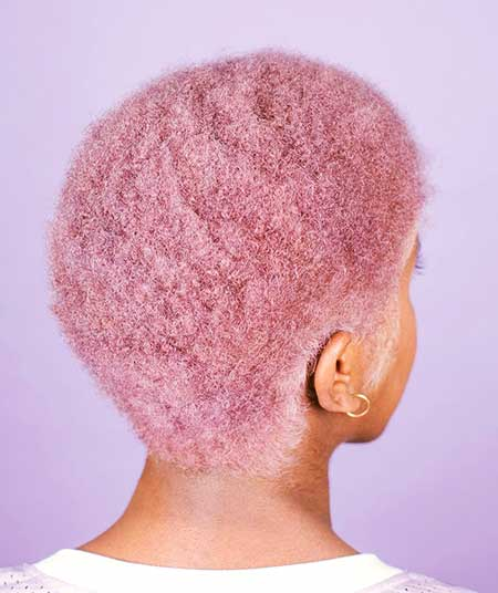 Candy Pink Short Afro Cut