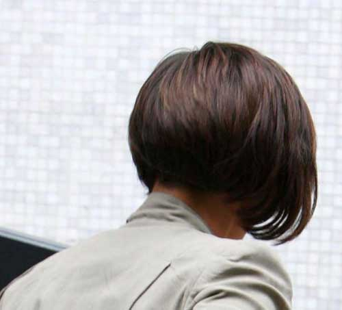 Back View of Dark Short Bob Cut Style