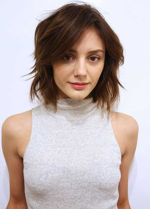 Brunette Choppy Bob Hair Cut