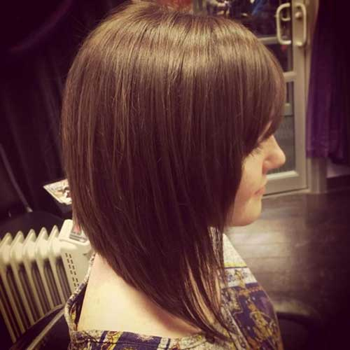 Long Angled Brown Bob Hair Ideas with Bangs