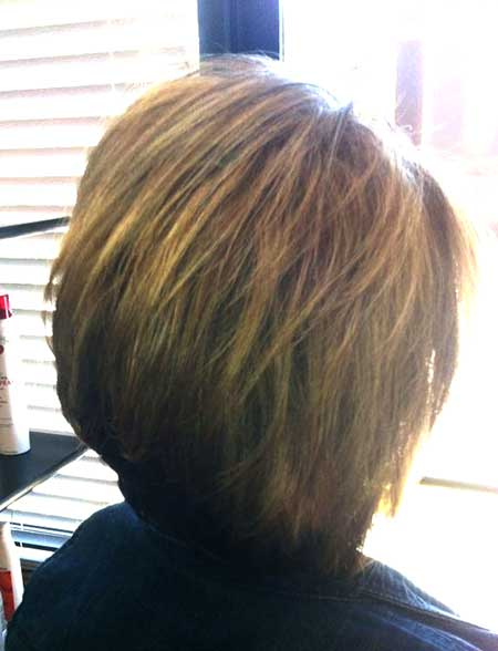 Back View of Simple Bob Hairstyle with Bangs