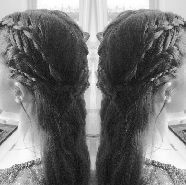 waterfall braid with a french fishtail and made a braided barrette in the back