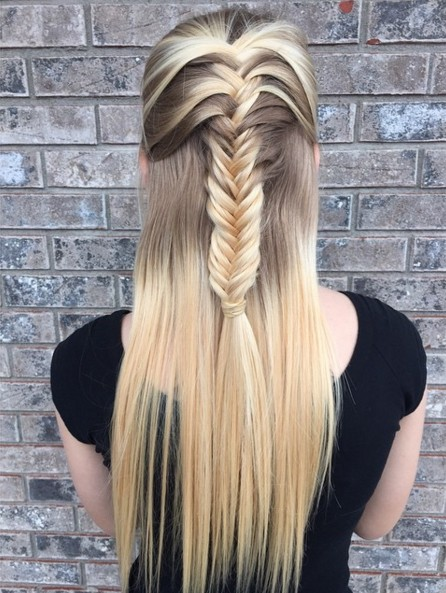 Half Up Frisuren mit Fishtail Braid - Ideen für lange Frisuren