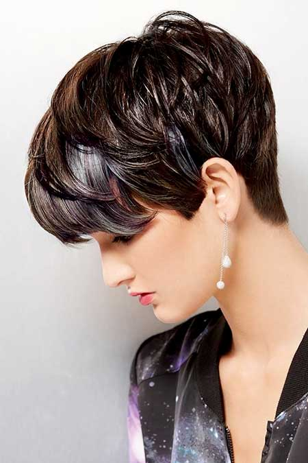 Short Bouncy Pixie Hairdo with Messy Bangs