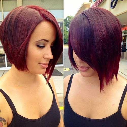 Short Red Inverted Bob