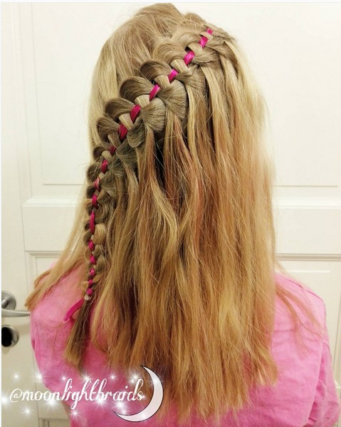 Four strand waterfall braid with ribbon