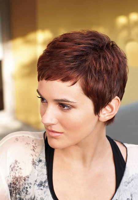 Cool and Attractive Cherry Red Pixie Cut