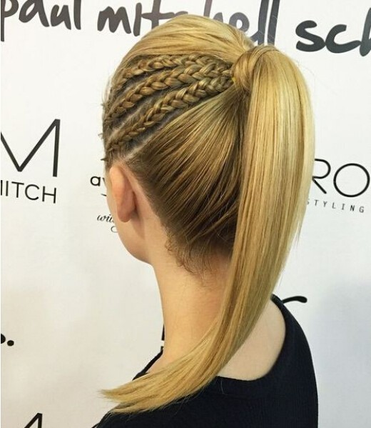 Chic French Braid Pferdeschwanz Frisur - Gerade lange Frisuren