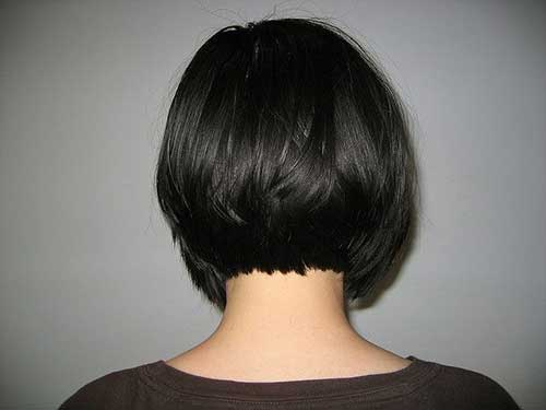 Dark Short Bob Haircut Back View