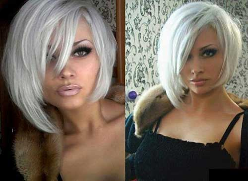 White Blonde Casual Bob Hairstyles