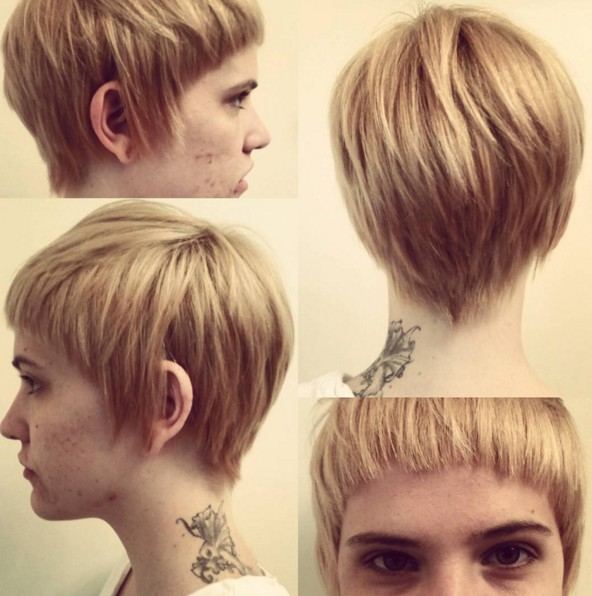 Pixie Haircut with Bangs - Blonde, Layered Hairstyle
