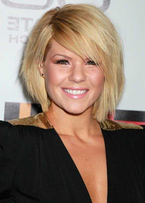 Choppy Blonde Bob Hairstyles with Side Swept Bangs