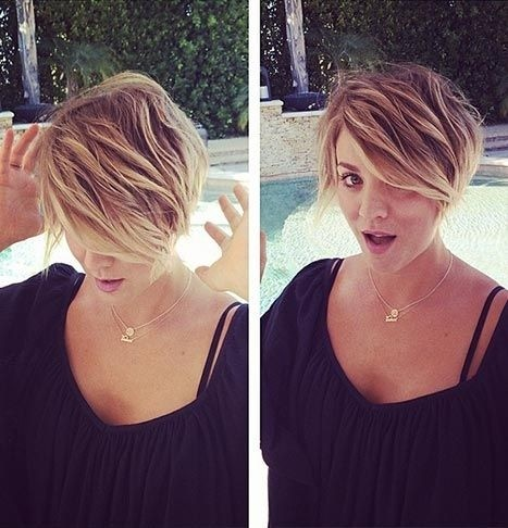 Kaley Cuoco Short Haircut - geschichtete Frisur