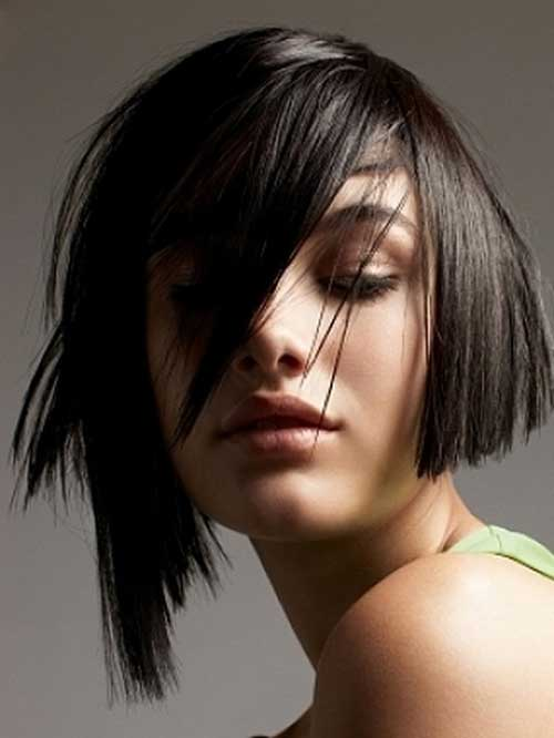 Different Dark Bob with Asymmetrical Bangs