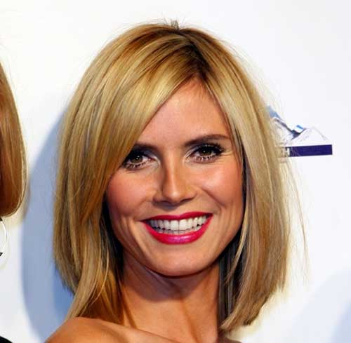 Heidi Klum Long Thin Bob Haircuts