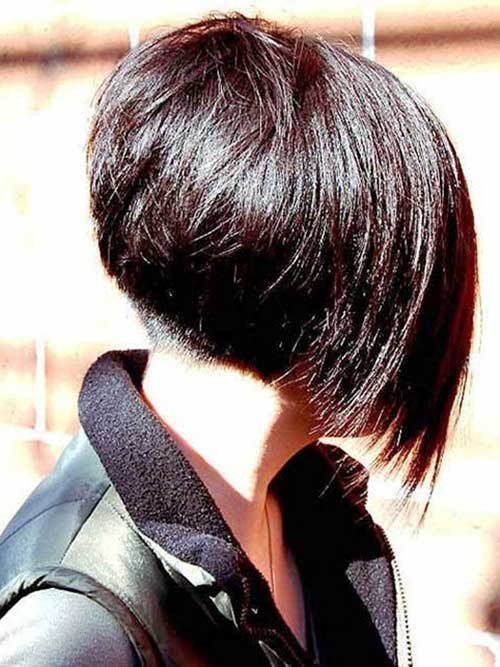 Angled Dark Bob Hairstyles Side Pictures