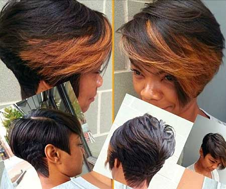 Bouncy Short Bob Hairstyle with Brown Bangs for Girls