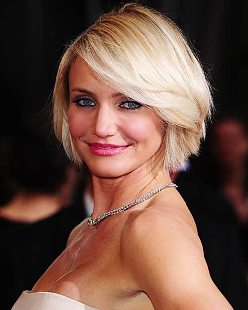 Cameron Diaz Side Bangs Bob