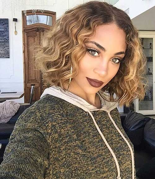 Curly Bob with Blonde Color Ideas
