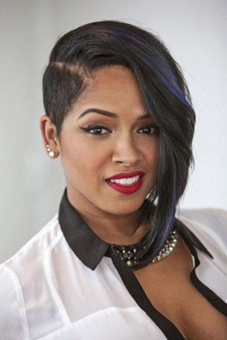 Short asymmetrical haircut black women